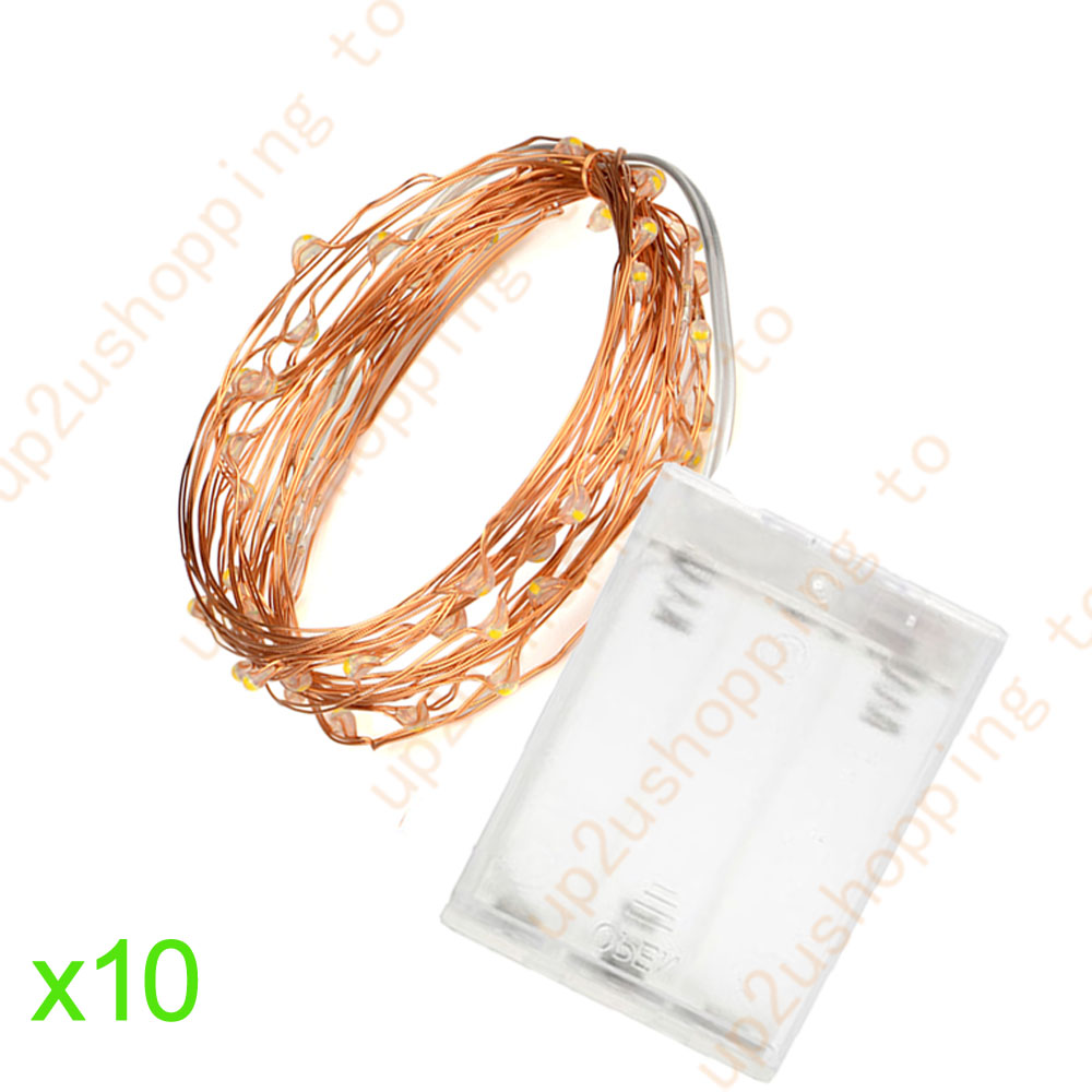 10x Warm White Copper Wire 30LED String Battery Powered Fairy Xmas Light 3M//10FT