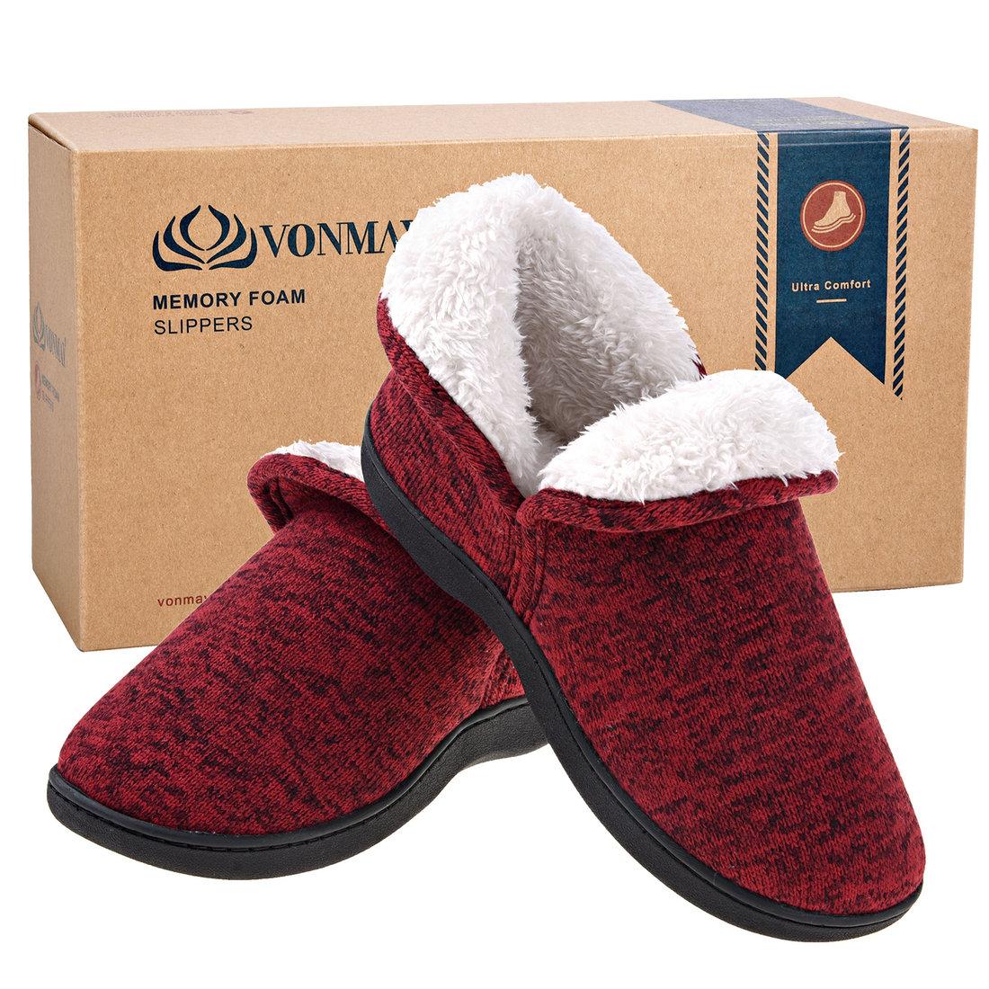 1b313ee17395 Women Memory Foam Super Warm Slippers Wool-Like Plush Lining House Shoes