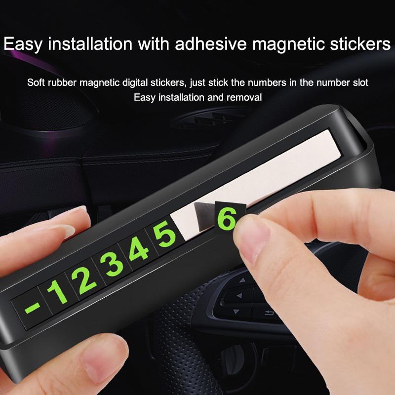 Night Luminous Rotatable Hidden Car Temporary Parking Card Phone Number Plate