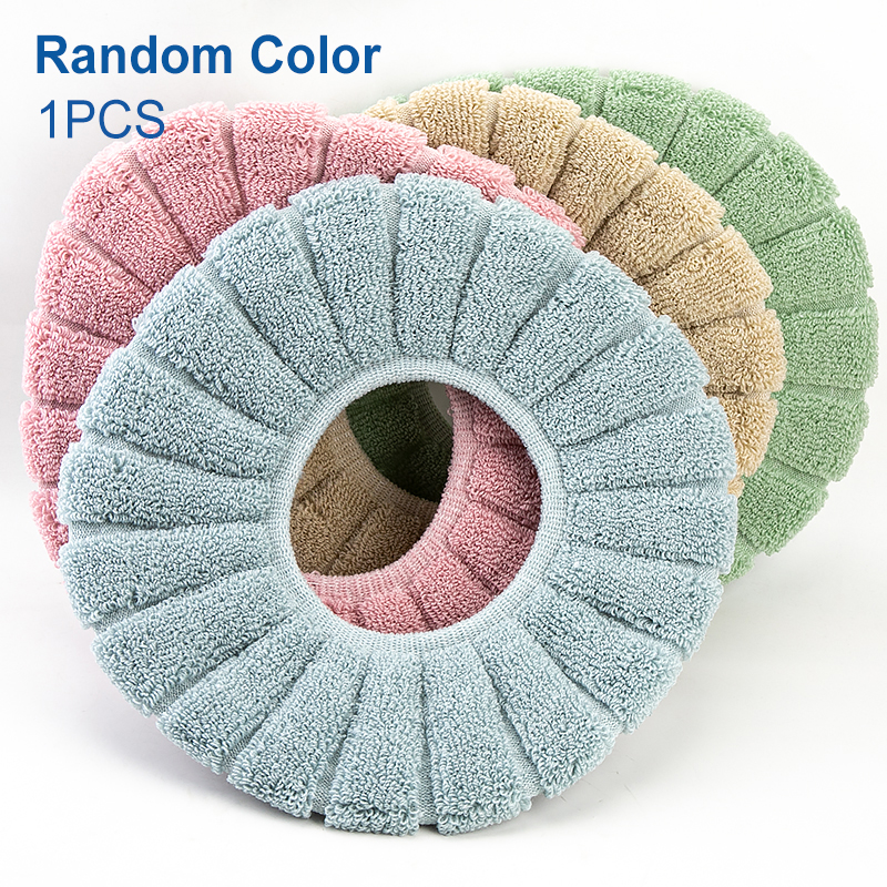 Bathroom Toilet Seat Cover Soft Knitting Fabric Case 1pc Pa A0I1 Mat Warm A5A5