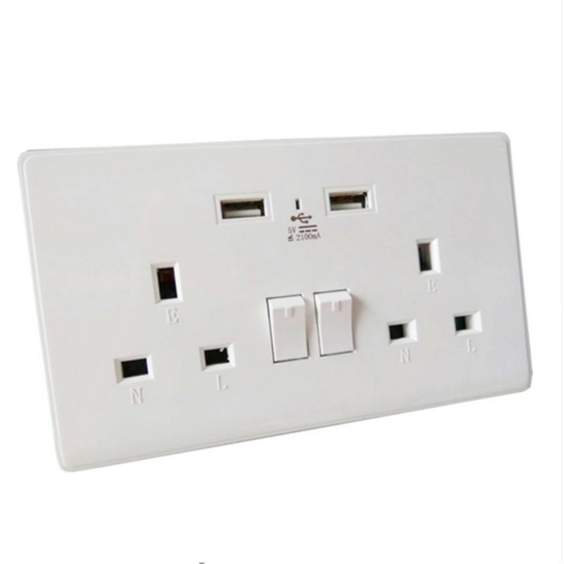 Double Wall Plug Socket 2 Gang 13A w// 2 Charger USB Ports Outlets Flat Plate UK