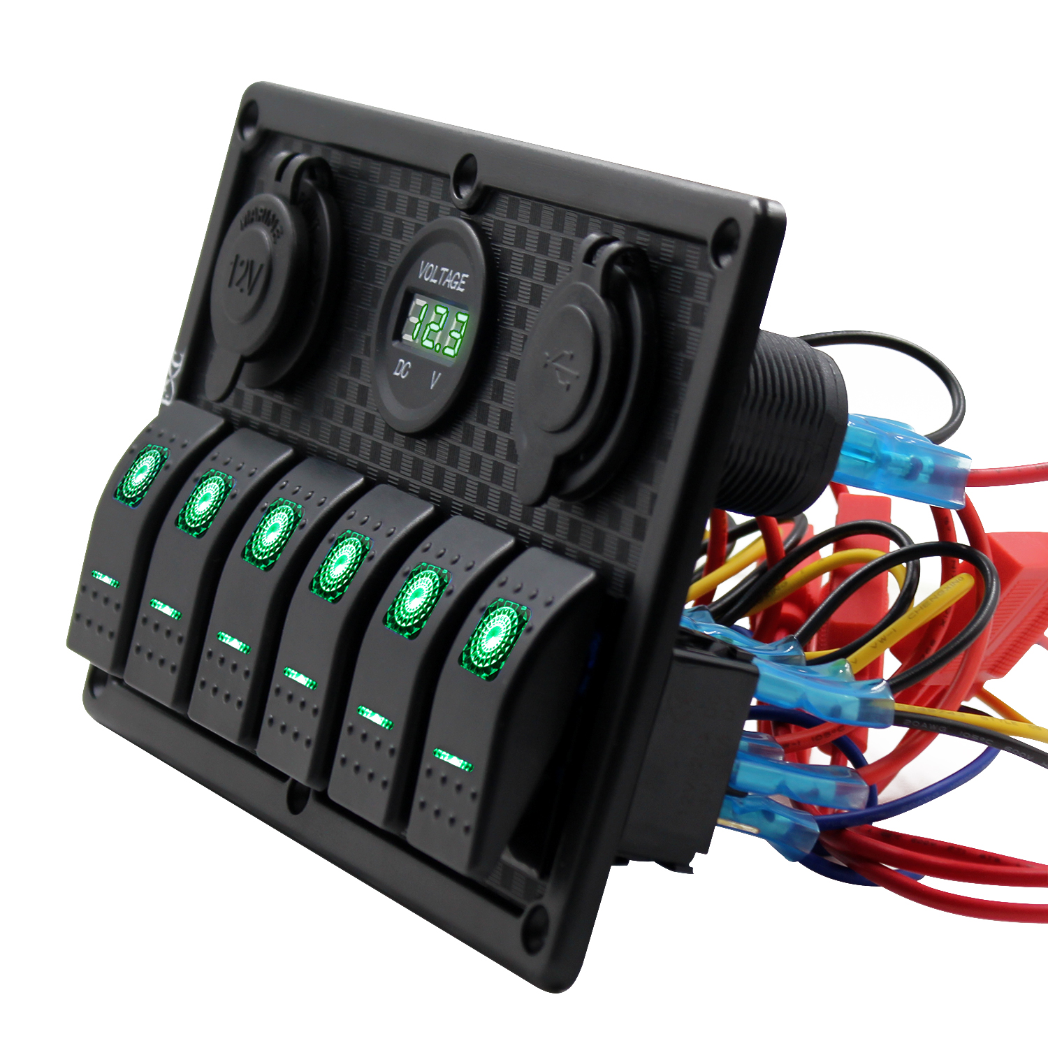 6 Gang Green Led Switch Panel Dual Usb Waterproof Power Socket Car How To Wire A Purishion Rocker With 12v 24v For Marine Boat Trailer