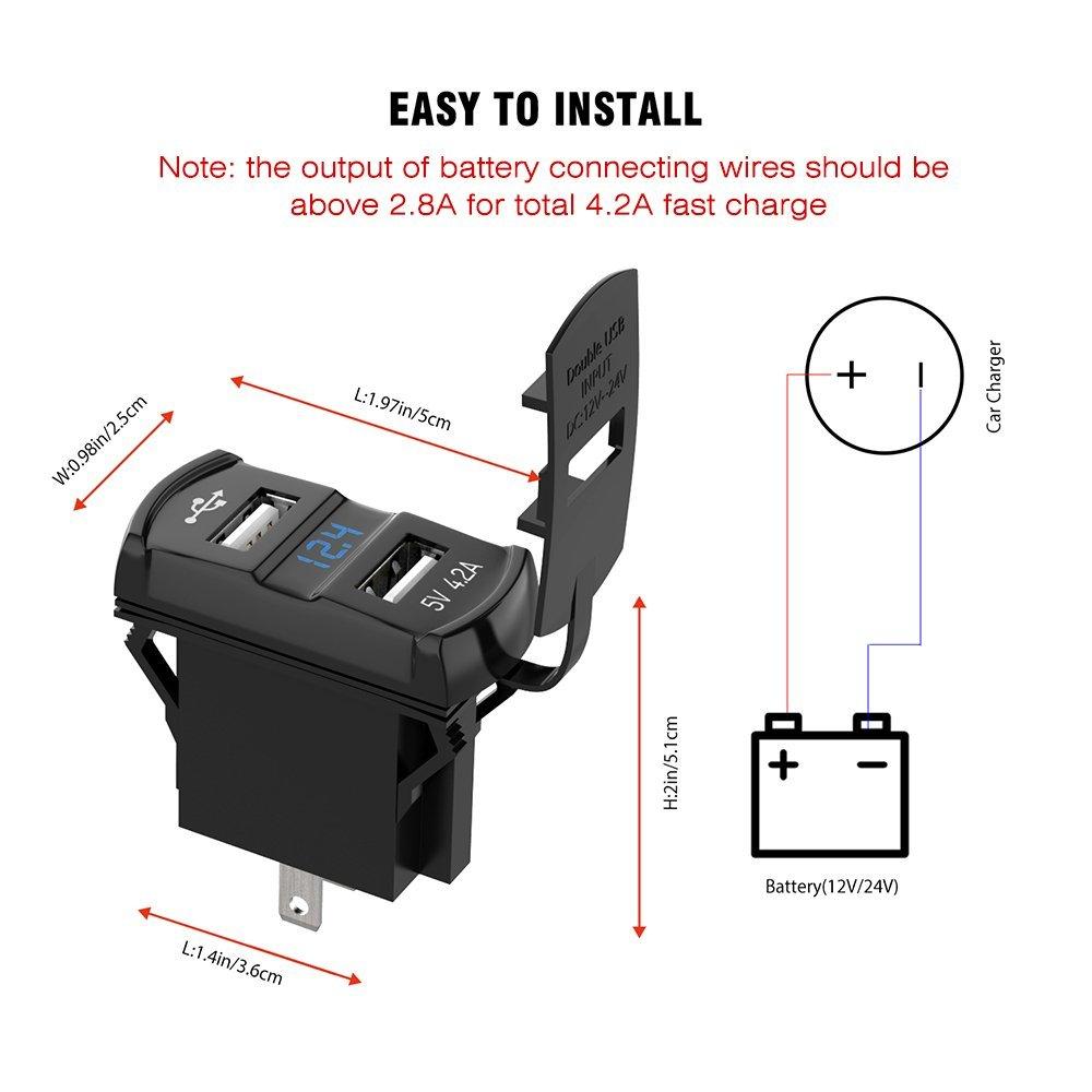 12v 24v Car Dual 42a Usb Charger Socket Red Digital Display Voltage Wiring Diagram 2 In1 Rocker Led Voltmeter For Iphone Ipad