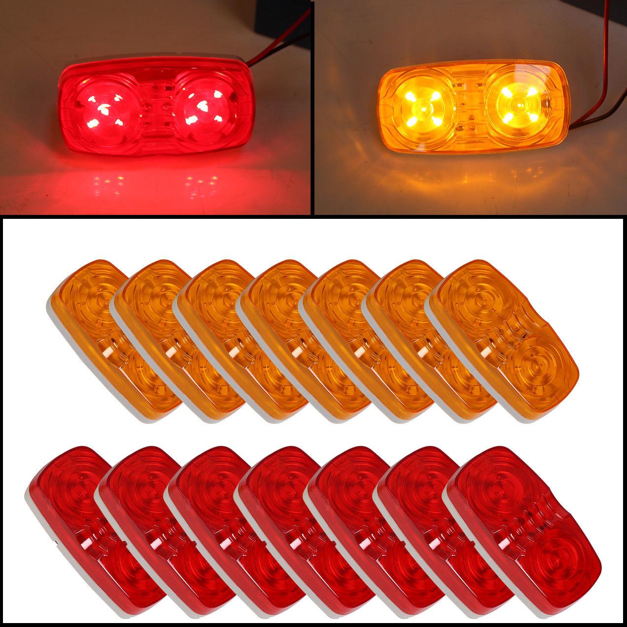 10Pcs 24V Rear Side Marker Indicators Light Lamp 6 LED Marker Light Truck Cab Marker Light RV Marker Light Color : Amber