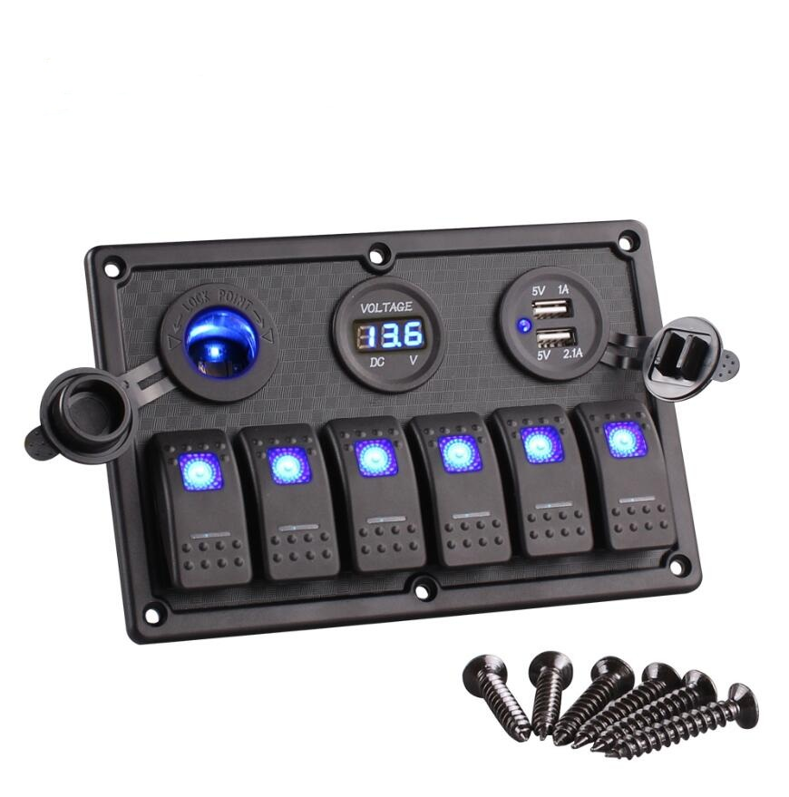 6 Gang Led Rocker Switch Control Panel Circuit Charger 12v