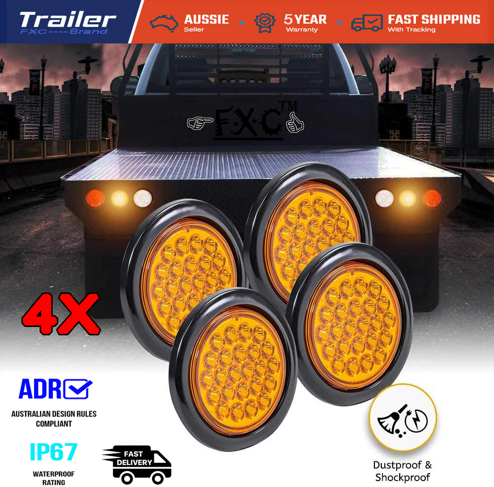 4x 4 U0026quot  Inch Amber 24 Led Trailer Tail Light