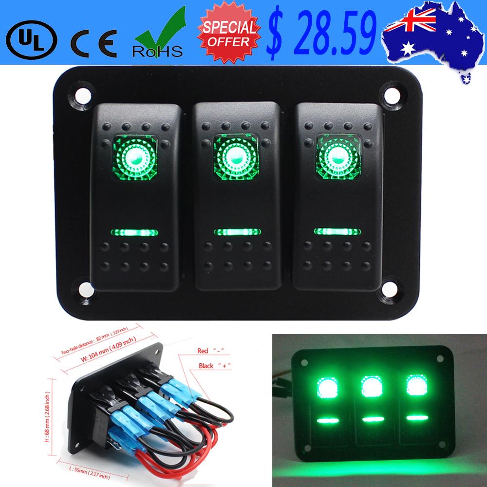 Rocker Switch Panel 3 Gang Marine//Boat Switch 12V//24V Dual LED Light RED