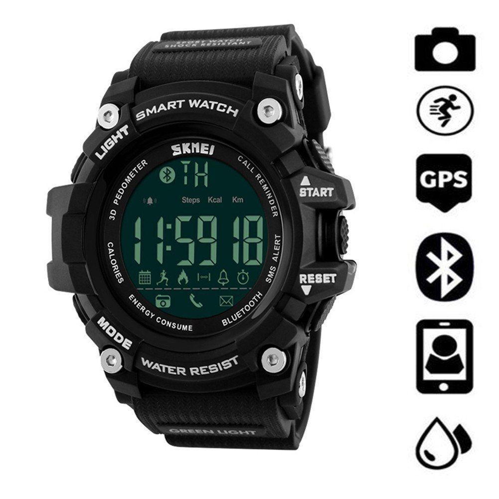 Details about SkMEI Waterproof Bluetooth LED Digital Sport Pedometer Smart Wrist Watch - Black