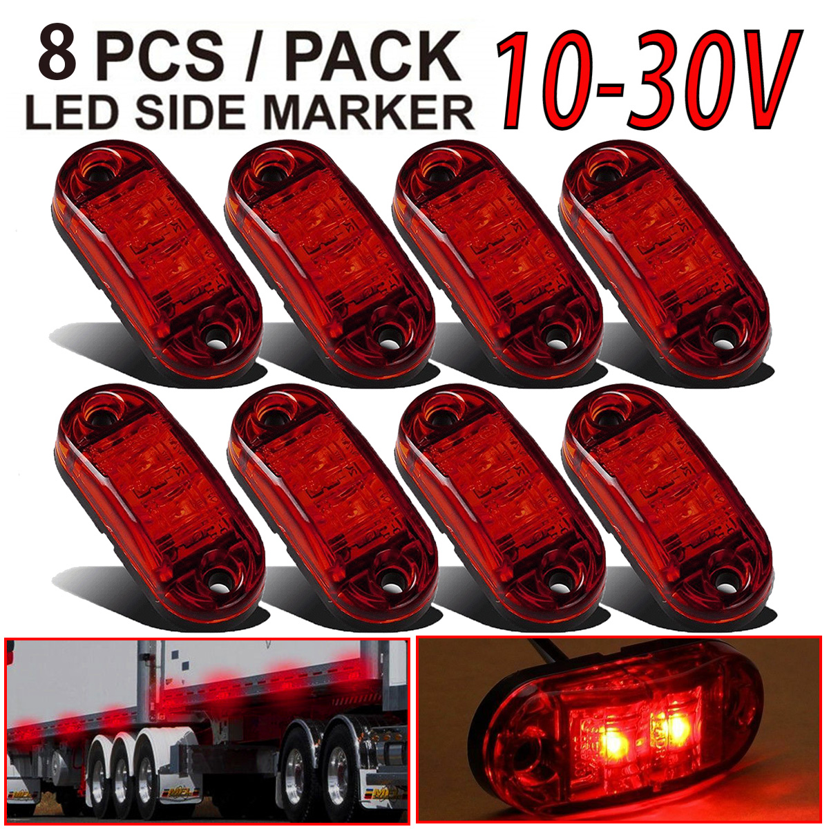 """2x Amber 2x Red Clearance 2.5/"""" 2-LED Oval Side Marker Lamp Light Truck Trailer"""