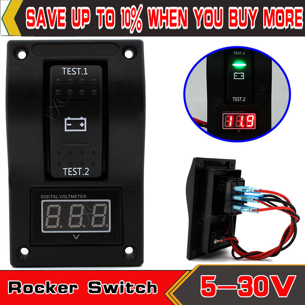 Car Marine Boat Voltage LED Voltmeter Dual Battery Test Rocker Switch ON-OFF-ON
