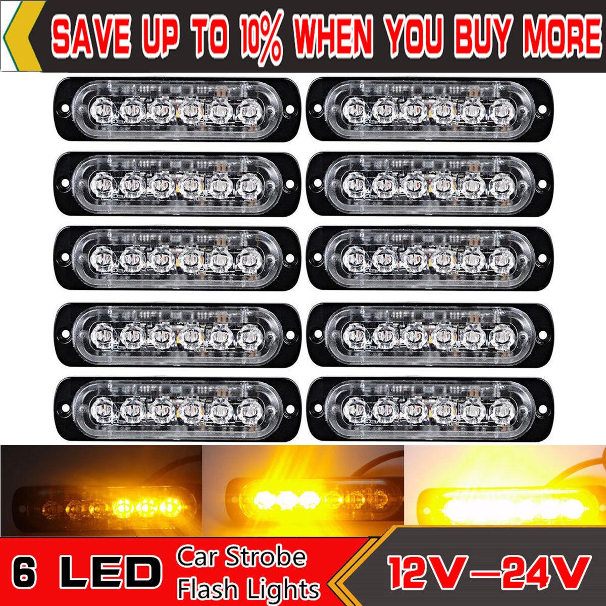 2X Car/&Truck Amber Recovery Strobe Emergency 6LED 12V//24V Durable Flashing Light