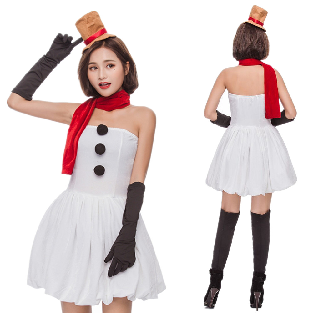 6085f05d5e Details about Women s Sexy Christmas Cosplay Dress Girl Miss Snowman  Costume Xmas Party Outfit