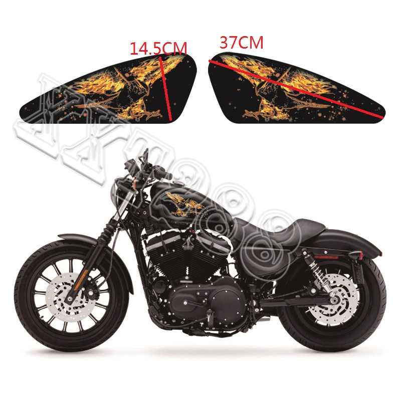 Flame Eagle Motorcycle Gas Tank Decals Emblem Badges Stickers For