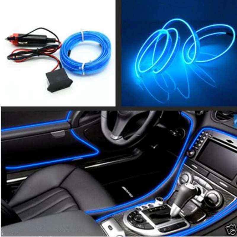 car interior blue panel neon cold light strip atmosphere fluorescent trim 4577669918473 ebay. Black Bedroom Furniture Sets. Home Design Ideas