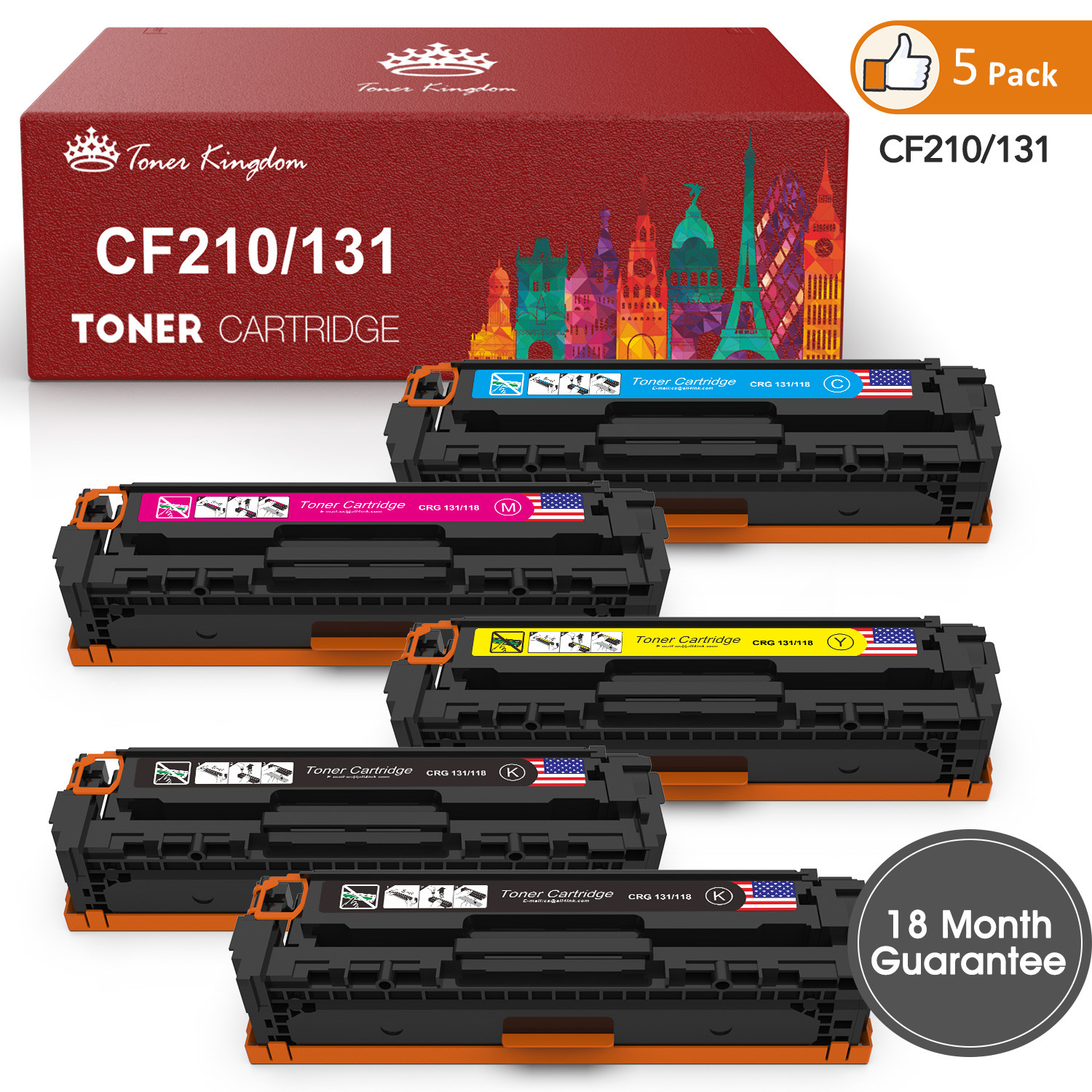 2 Pack CF210A 131A Black Toner Cartridge For HP Color Laserjet Pro M251nw M276nw