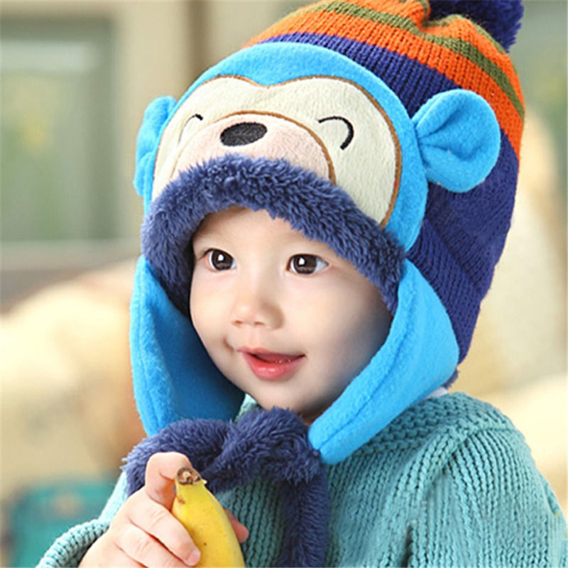 c9ad70b14e9 Winter Baby Hat Scarf Set Child Thickening Warm Kids Earflaps Panda Cap 3  Colors