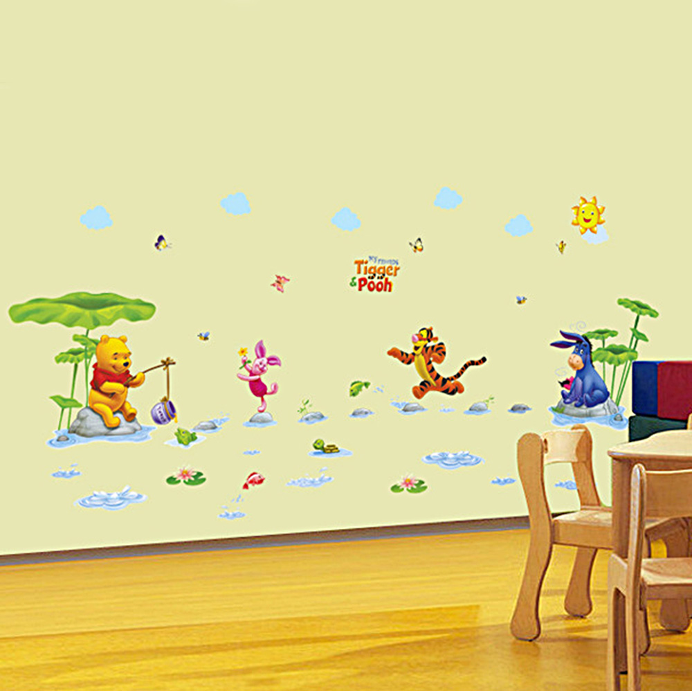 Cartoon Decor Winnie the pooh Wall Sticker Wallpaper For Kids Baby ...