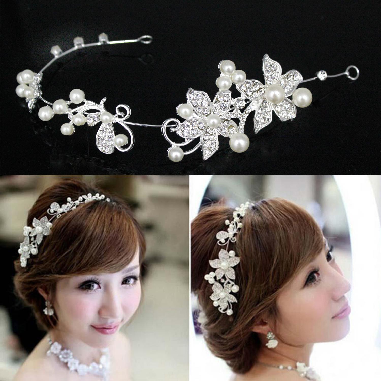 Wedding accessories pearls flowers pearls - Wedding Bridal Crystal Pearl Flower Hair Pin Elegant Bridesmaid Hair Accessories