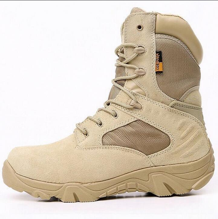 Mens Army Tactical Military Leather High Boots Outdoor Combat Work desert Shoes