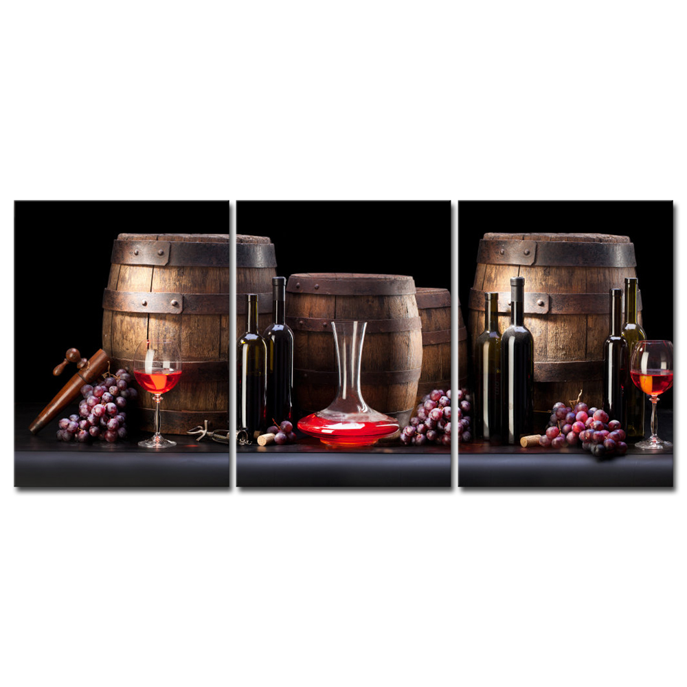 Details About Canvas Print Painting Pictures Home Decor Wall Art Cafe Wine Grape Barrel Photo