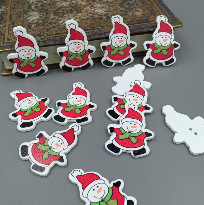 100x Xmas Snowman Shape 2-holes Wooden Buttons for Scrapbooking Cardmaking