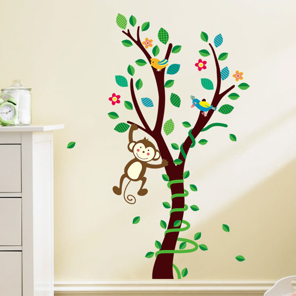 Monkey Animals Tree Mural Wall Decal Vinyl Stickers Nursery Decor Kids Gift UK