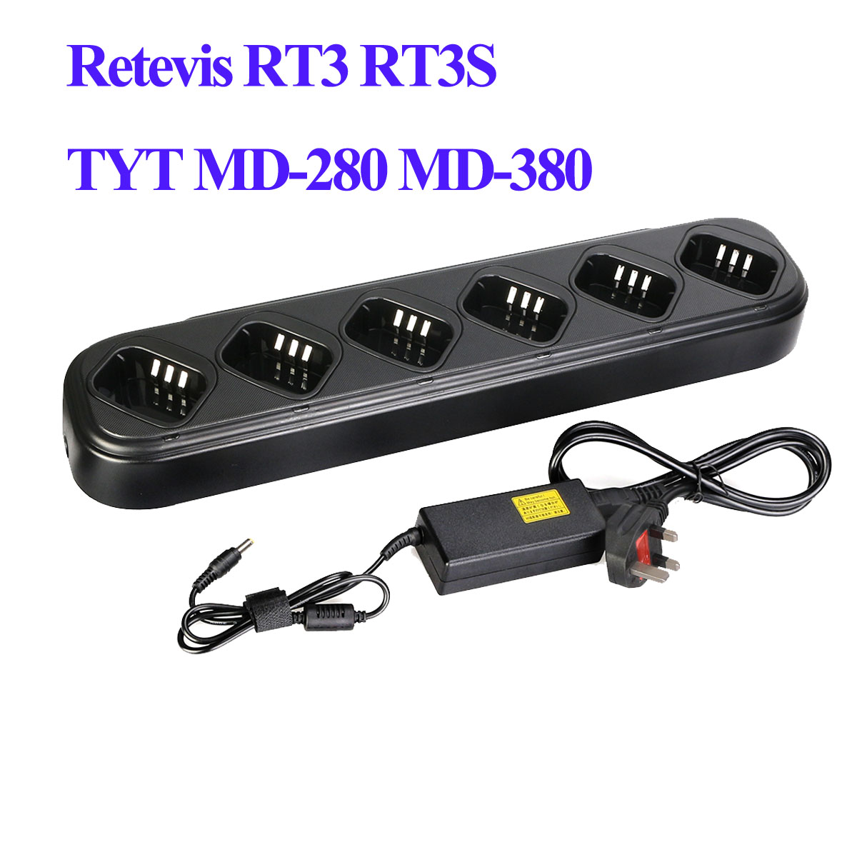 Six-way Universal Rapid Charger for TYT MD-280 MD-380 Retevis RT3 Radio//Battery