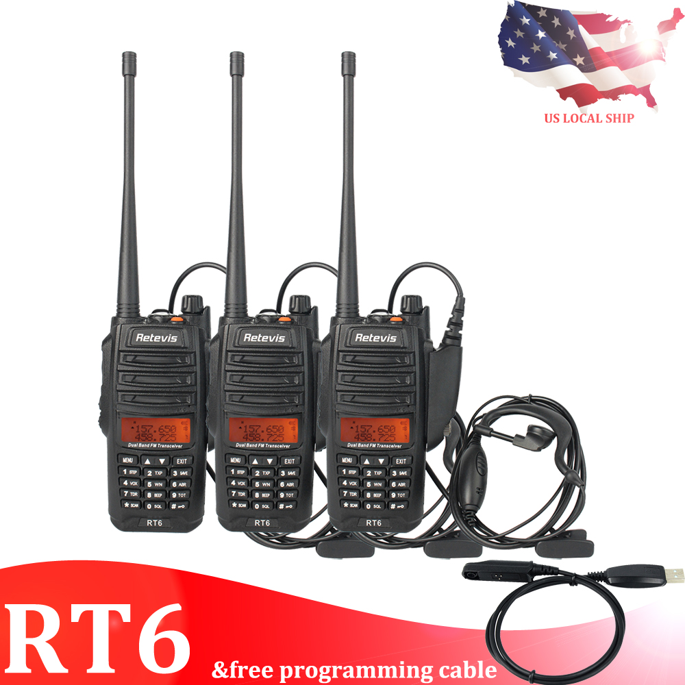 Details about 3X Retevis RT6 IP67 Waterproof Anti-Dust VHF/UHF 128CH  Emergency 2Way Radio US