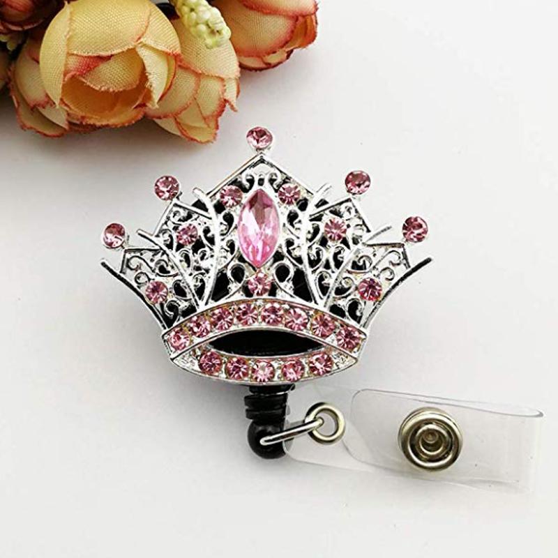 Elegant Pink Rhinestone Mini Crown Badge Reel Retractable ID Badge Holder