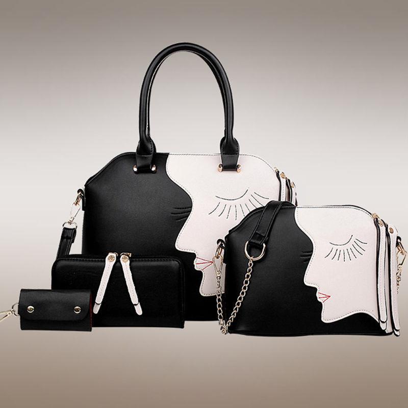 4pcs Luxury Hobo Bag Print Handbag Shoulder Bag Purse Tote PU ...