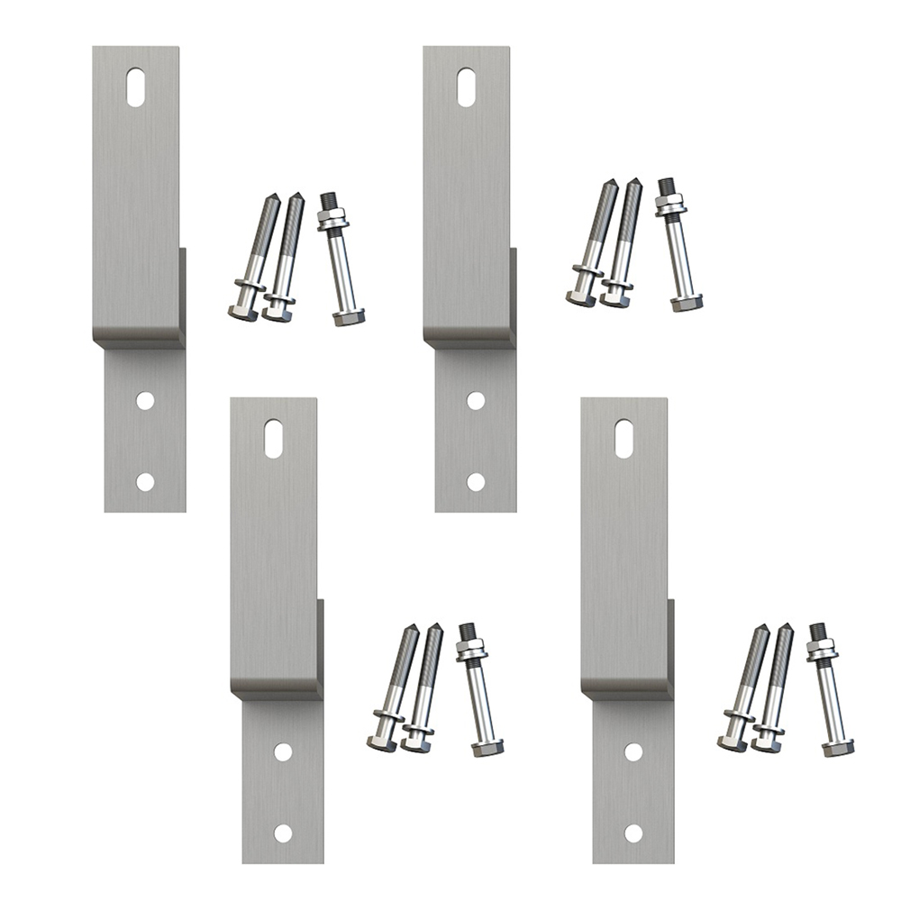 Details About Wall Mount Satin Nickel Byp Bracket For Sliding Barn Door Hardware Set Of 4