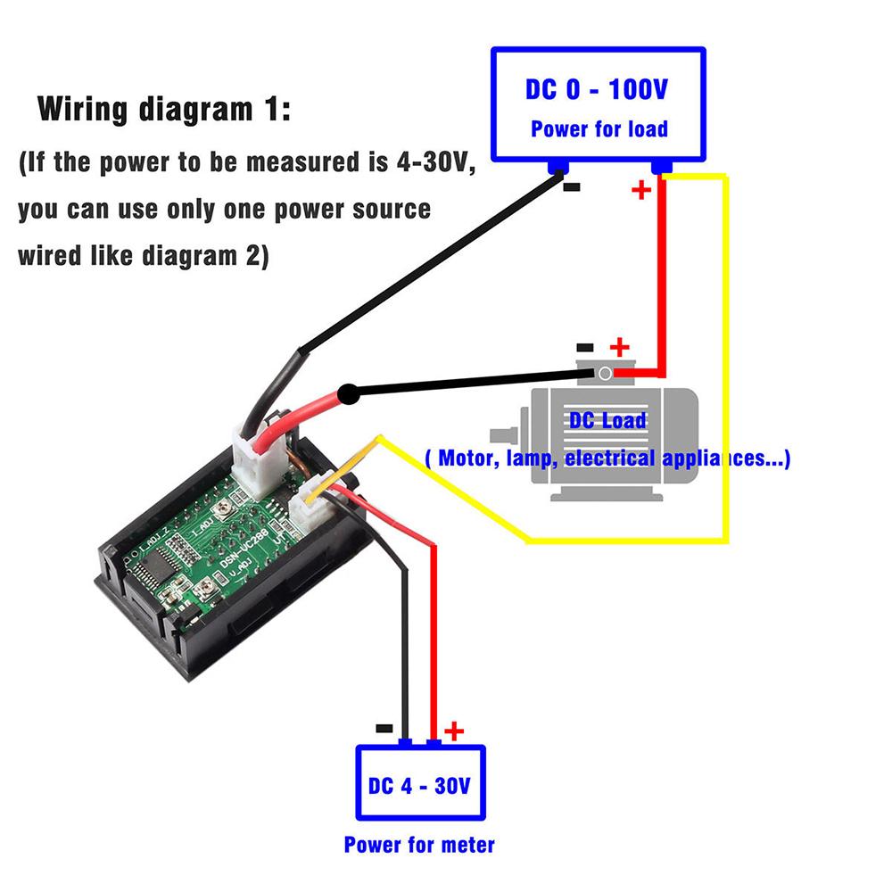 mini dc 100v 10a digital voltmeter ammeter blue red led volt amp rh ebay com Automotive Voltmeter Wiring-Diagram Auto Meter Wiring Diagram