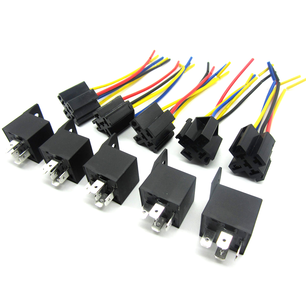 5 Pcs 12 Volt 30 40a Spdt Relay Wire Socket Car Automotive Alarm Home Wiring 40 Amp New Us