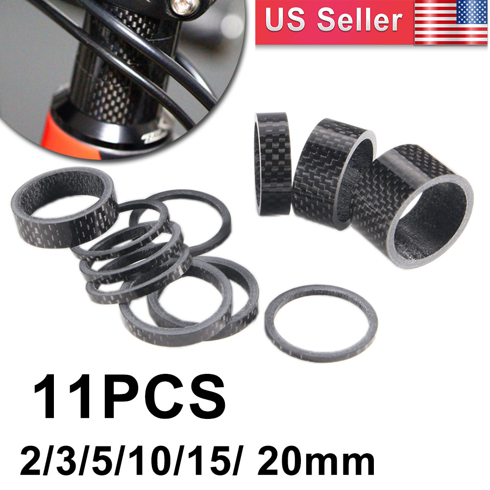 """11PCS Bike Washers Carbon 1-1//8/"""" MTB Cycle Stem Headset Spacer 2//3//5//10//15//20mm"""