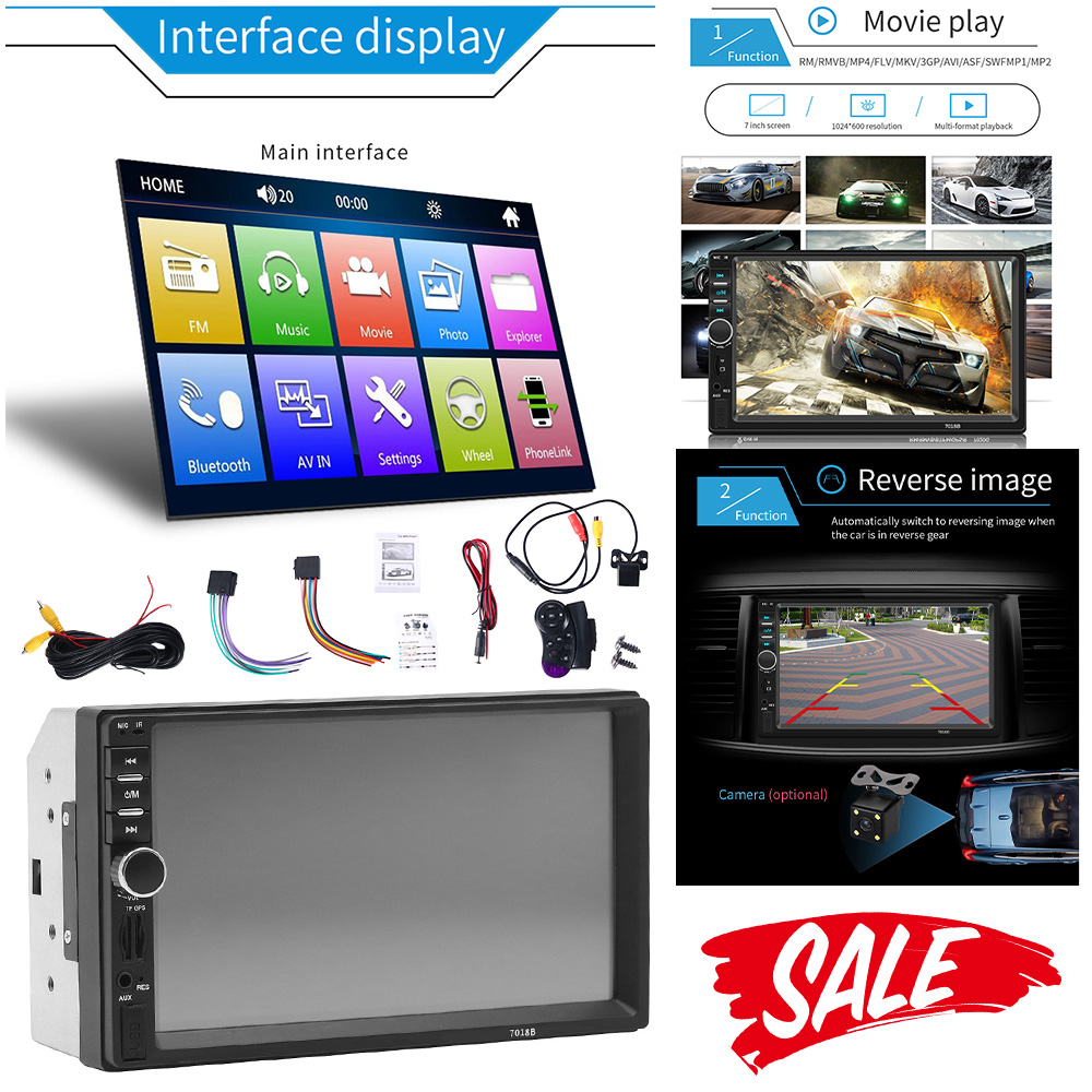 7 Inch Double 2 DIN Car MP5 Player Bluetooth Touch Screen Stereo Radio w//Camera