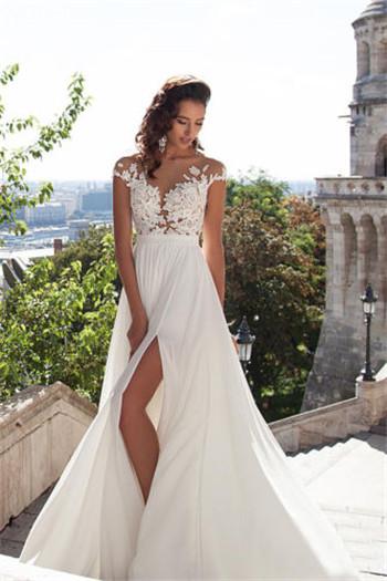 White/Ivory Chiffon Lace Wedding Dress Beach Bridal Gowns Custom 2 4 ...