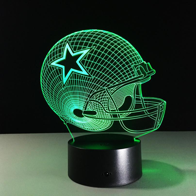 Football Helmet Table Lamp : D illusion football helmet led night light color change