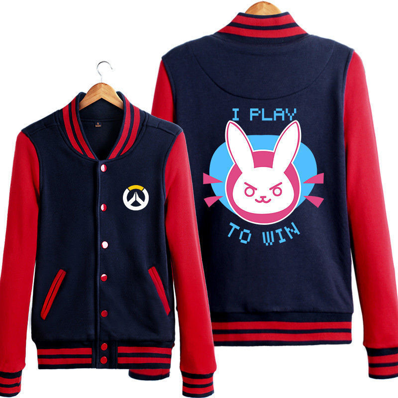 Game Overwatch D.va Cosplay Casual Hoodie Sweatshirt Baseball ...
