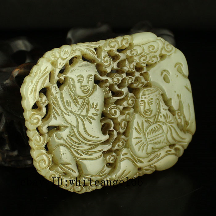 """2/"""" China Natural hetian old jade hollow out handcarved bamboo joint Pendant"""
