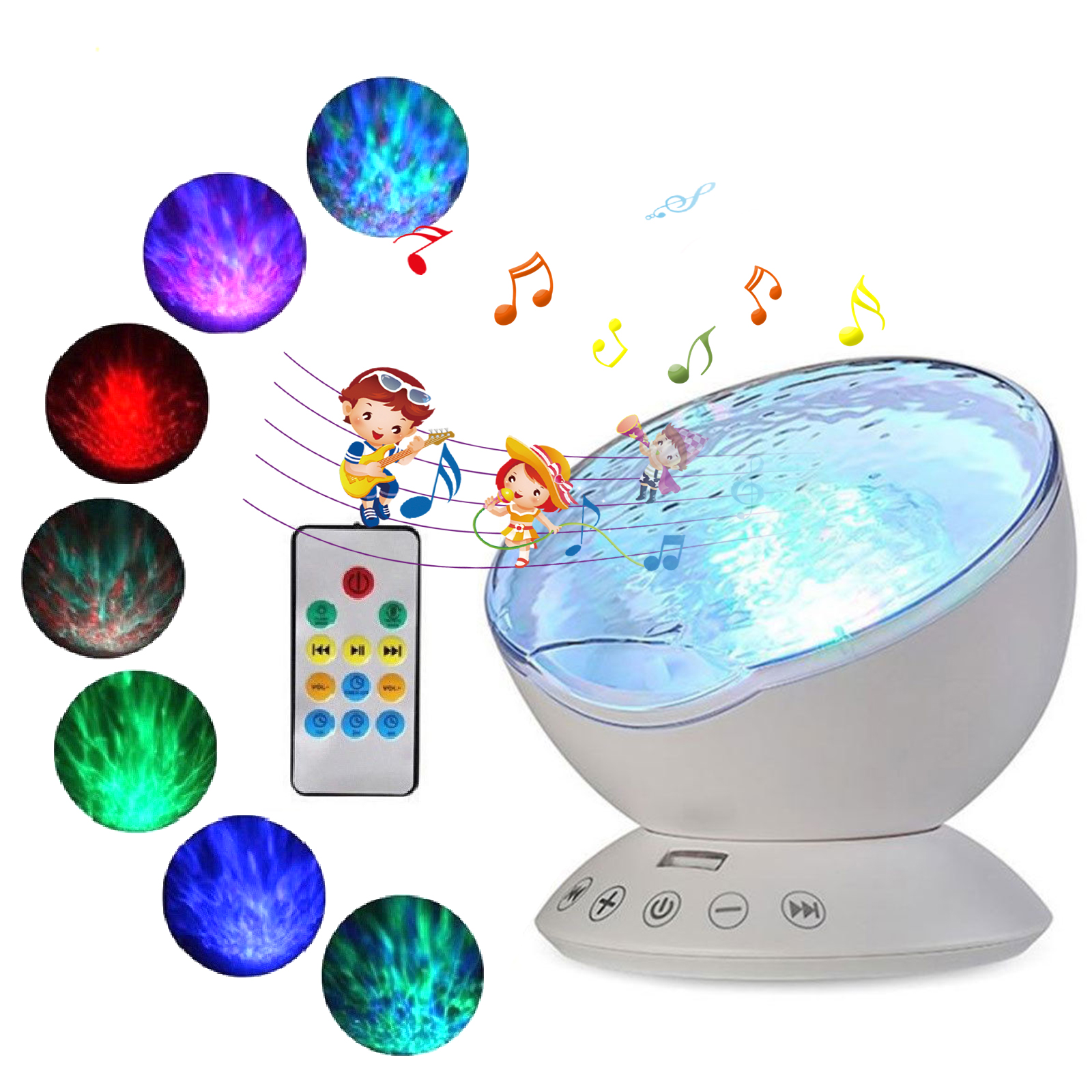 Relax Ocean Wave Music Led Night Light Projector Remote