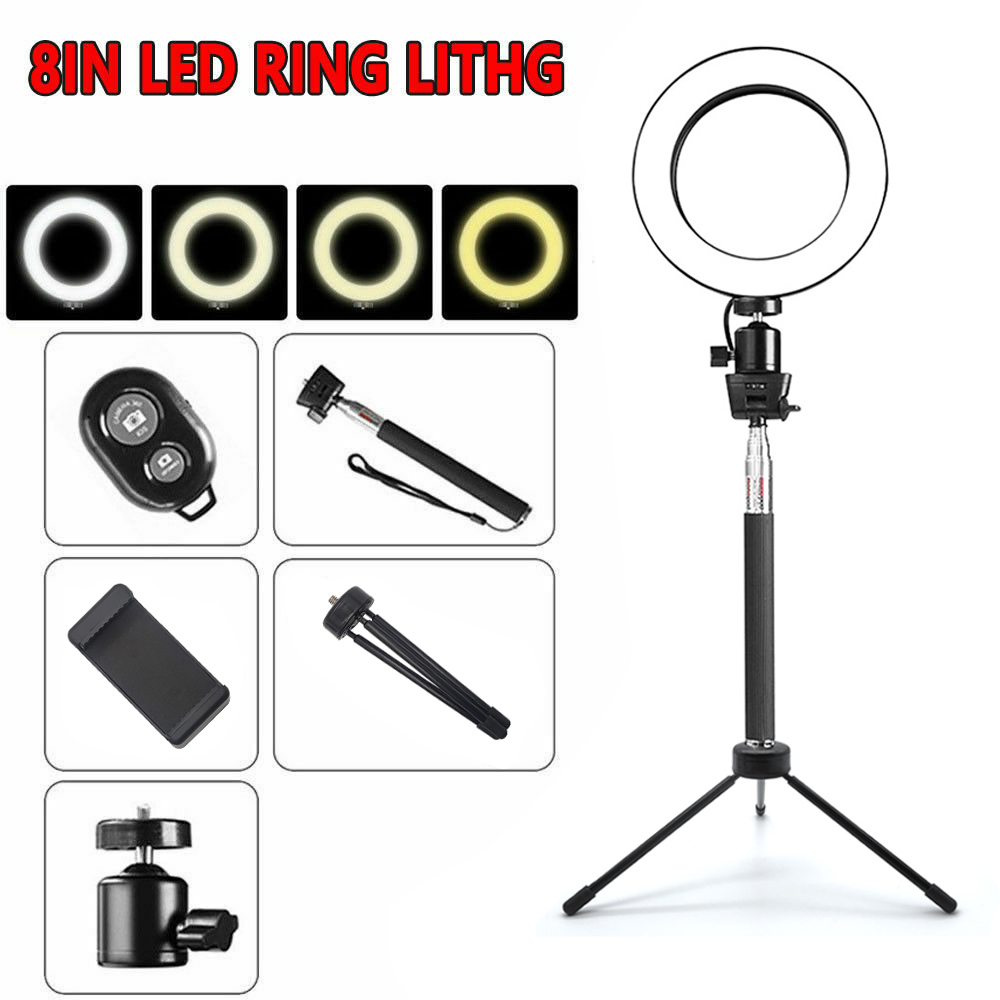 20cm LED Ring Light With Stand Dimmable Lighting Kit For Makeup Live Selfie UK