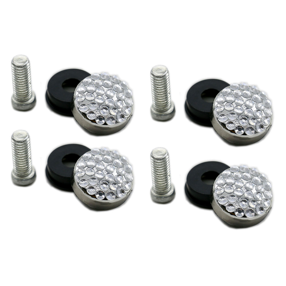 4x Silver Screw Cover Bolt Cap Stainless Steel Kits for Car License Plate Frame