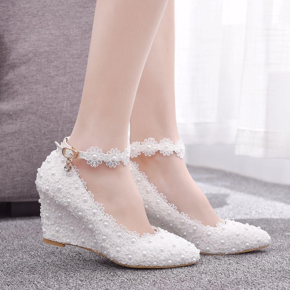 7cm White Women Shoes Wedges Lace Bridal Wedding Shoes Pearls