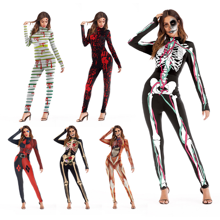 Womens Skeleton Frame Jumpsuit Bodysuit Fancy Dead Halloween Cosplay  Costume UK c08a5c14d