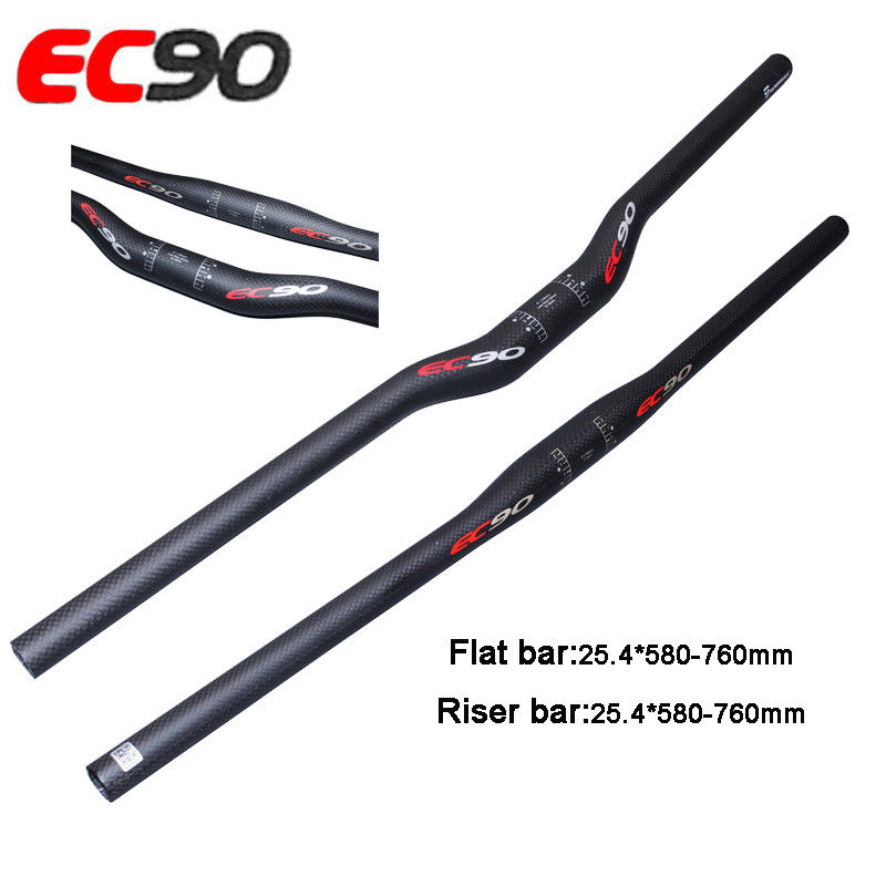 EC90 MTB Bike Riser Bar Carbon Firber Lengthen Handlebar Flat Bar 25.4*600-720mm