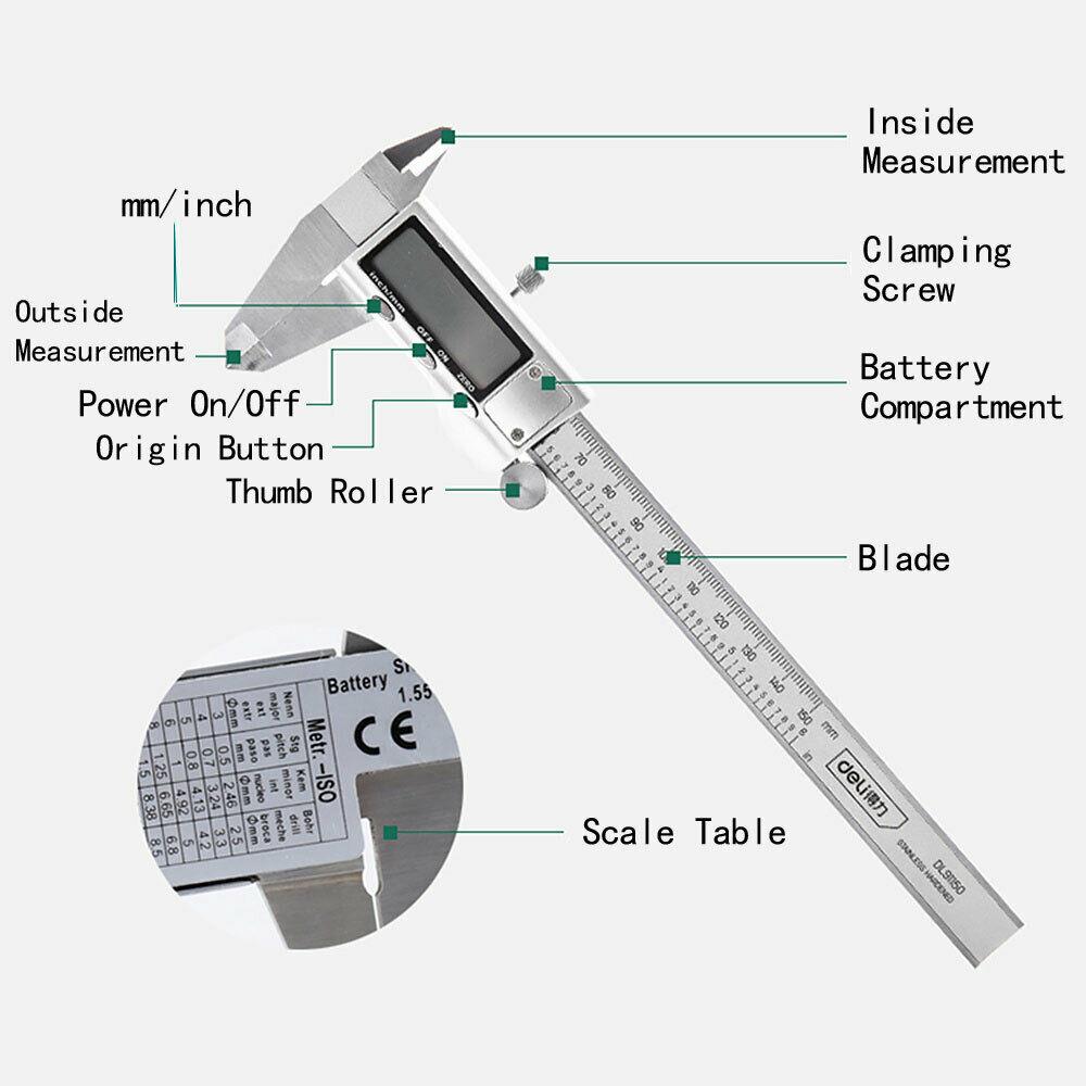 Micro Digital Nonius Messschieber aus Edelstahl Messwerkzeug Elektronisches LCD