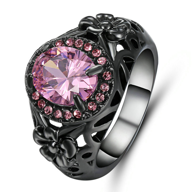 Charm Women Rings Jewelry Silver Filled Pink Sapphire Wedding Party Ring Size 8