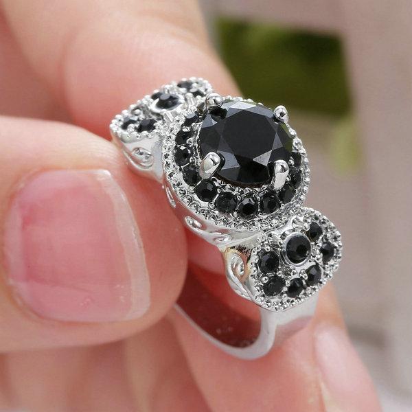 LadyWomen039s silvery 10K white gold Filled Black Obsidian