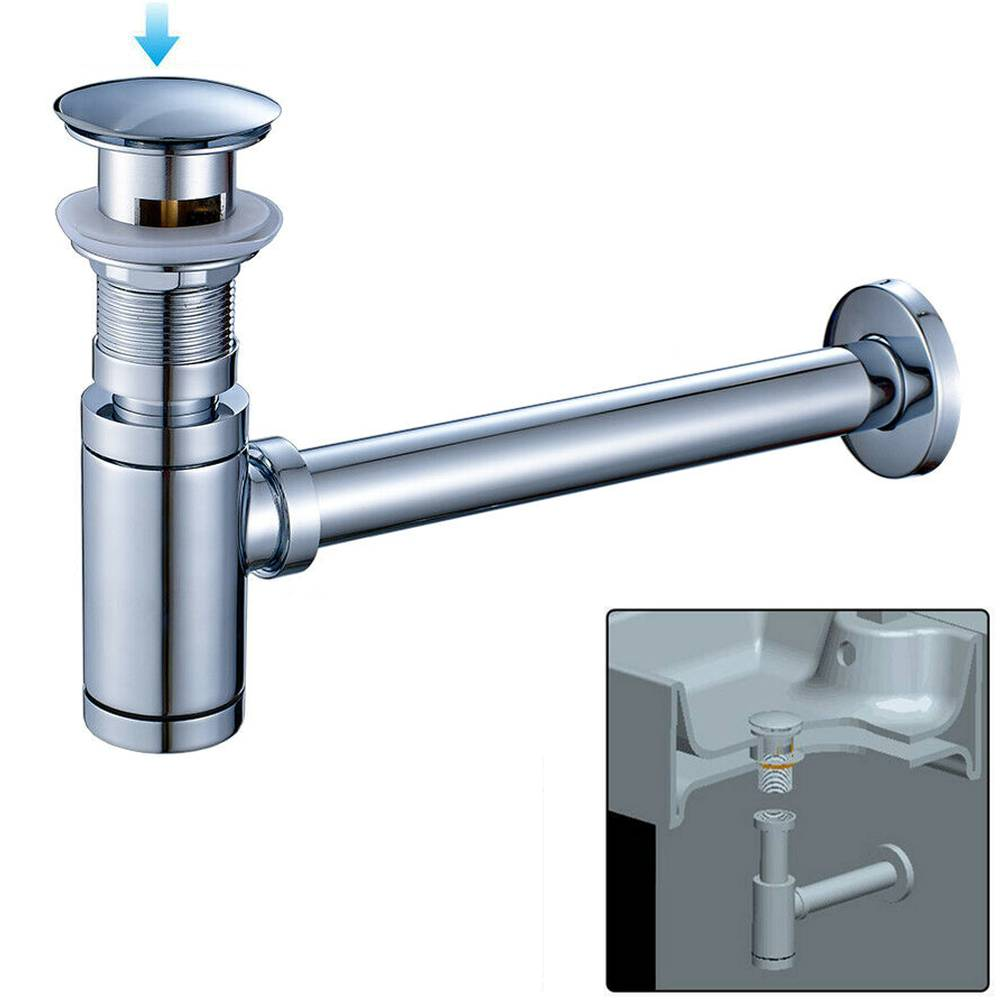 Ablaufventil Push-UP Sifon Siphon Ablaufgarnitur Abfluss /& Überlauf Waschbecken