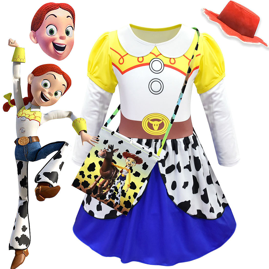 Toy Story 4 Jessie Cosplay Costume Kids Girls Cowgirl Fancy Dress Party Clothes